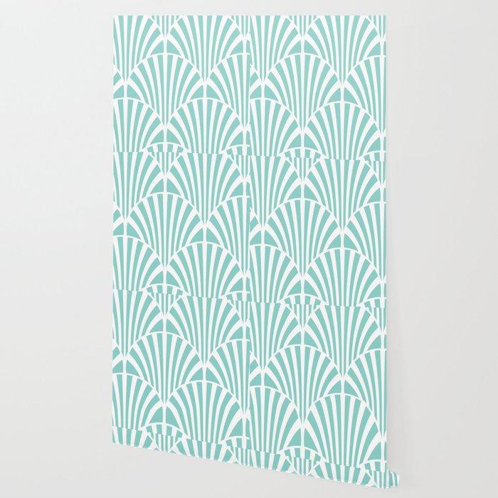 Retro Mint Green Art Deco Style Fan Pattern Wallpaper