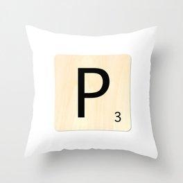 Scrabble P Throw Pillow