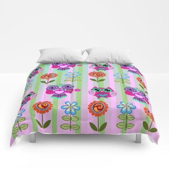 Fantasy summer flowers and owls on a striped background, pattern design Comforters