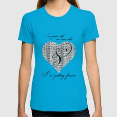 Cross my heart, cross my fingers. Womens Fitted Tee Teal LARGE