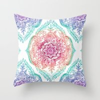 indian Throw Pillows featuring Indian Ink - Rainbow version by micklyn