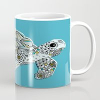 sea turtle Mugs featuring Sea Turtle by Rachel Russell