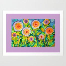 Peach Peonies in the Garden Art Print