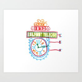 Belfast Telegraph Clock Art Print