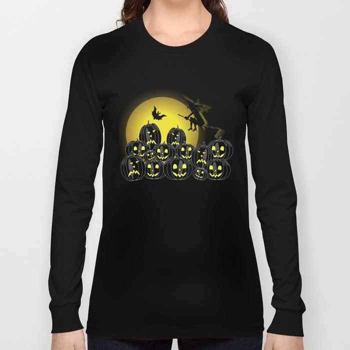 Pumpkins and witch in front of a full moon Long Sleeve T-shirt