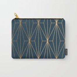 Benjamin Moore Hidden Sapphire Geometric Gold Pattern  Carry-All Pouch