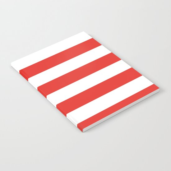 rayures blanches et rouges 7 Notebook