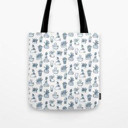Blue Inky Cacti Tote Bag