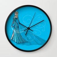 elsa Wall Clocks featuring Elsa by Eva Duplan Illustrations