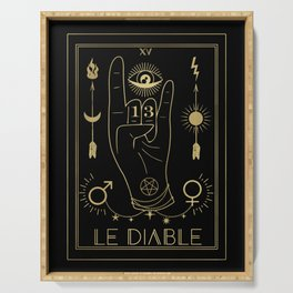 Le Diable or The Devil Tarot Gold Serving Tray