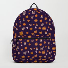 Spooky Halloween Dog Pattern Backpack