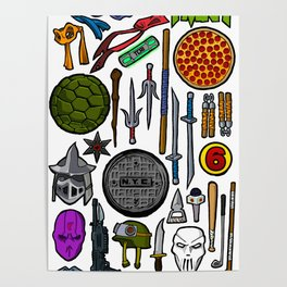 TMNT Weapons & Masks Poster