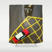 taxi driver Shower Curtains featuring Taxi  by Ethna Gillespie