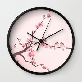 Oriental cherry blossom in spring 005 Wall Clock