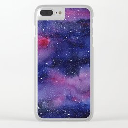 Watercolor Galaxy Nebula Pink Purple Sky Stars Clear iPhone Case