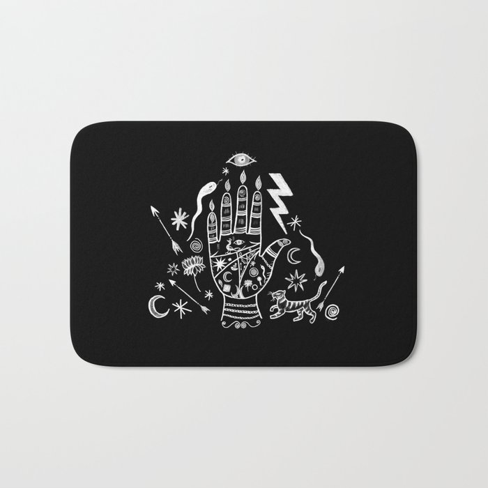 Spiritual Hand Black and White Bath Mat