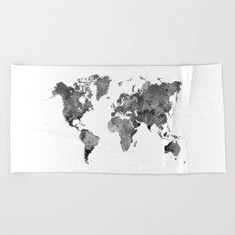 World map in watercolor gray Beach Towel