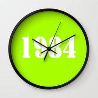 1984 Wall Clocks featuring 1984 by Wanker & Wanker