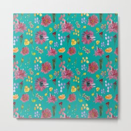 Aqua botany floral pattern design Metal Print