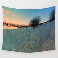 hiking Wall Tapestries featuring Hiking through winter wonderland | landscape photography by Patrick Jobst