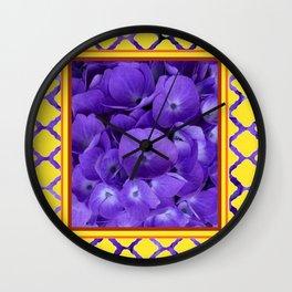Interior Design Purple Floral Yellow Lattice Wall Clock