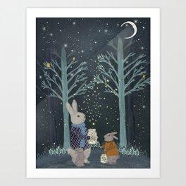 catching fireflies Art Print