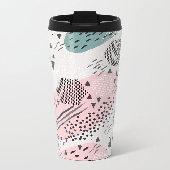 Geometric shapes & strokes Metal Travel Mug