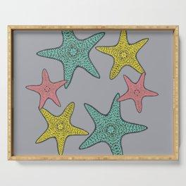 Starfish gray background Serving Tray
