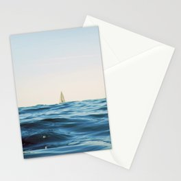 White Sailing Boat Sailing on the Horizon, Open Blue sea Stationery Cards