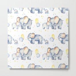Elephants - Watercolor Elephants Boys with Dads Metal Print