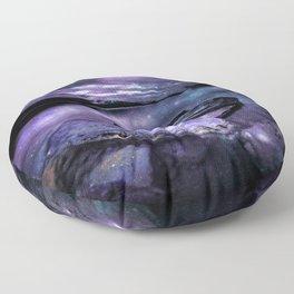 Magical Mountain Lake Purple Teal Floor Pillow
