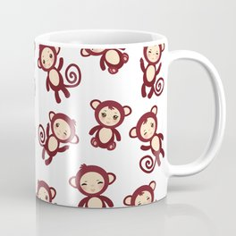 pattern with funny brown monkey boys and girls on white background. Vector illustration Coffee Mug