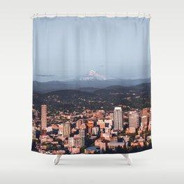 Portland Oregon Skyline and Mount Hood | Travel Photography Shower Curtain