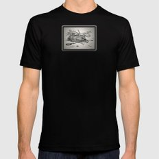ROCK, PAPER, SCISSORS MEDIUM Black Mens Fitted Tee