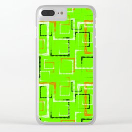 White and red carved squares and black frames for an abstract green background or pattern. Clear iPhone Case