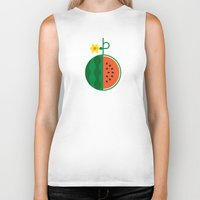 fruit Biker Tanks featuring Fruit: Watermelon by Christopher Dina