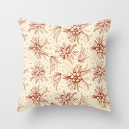 red sketchy floral pattern Throw Pillow