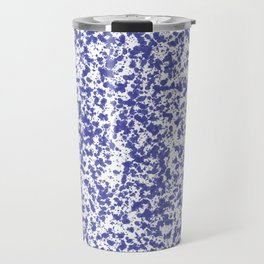 """Navy and White Painted Dot Pattern"" Travel Mug"