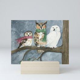 Three Wise Owls Mini Art Print