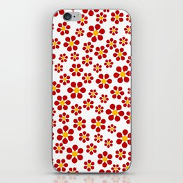 Dizzy Daisies - red on white iPhone Skin