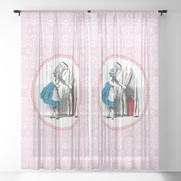 Alice in Wonderland | Alice finds Key and the Door to Wonderland | Pink Damask Pattern | Sheer Curtain