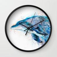 dolphin Wall Clocks featuring Dolphin  by Slaveika Aladjova