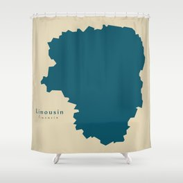 Modern Map - Limousin FR France Shower Curtain