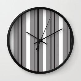 Grey White & Black Stripes Wall Clock