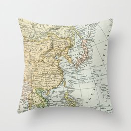 China, Russia, Japan Vintage Map Throw Pillow
