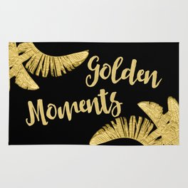 Golden Moments Glamorous Typography And Tropical Leaf Rug