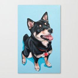 Happy Shiba Inu Puppy Painting, Black Shiba Artwork, Portrait of a Happy Shiba Inu Canvas Print