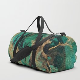 Green and Gold marbled paper Duffle Bag