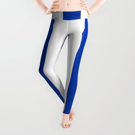 Philippine blue - solid color - white vertical lines pattern Leggings