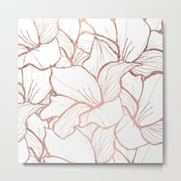 Modern handdrawn abstract faux rose gold flowers pattern Metal Print